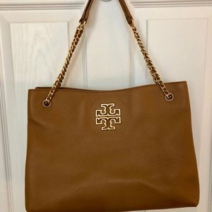 Tory Burch leather tote with chain handles